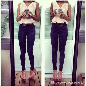 blouse jeans shoes wood wedges wooden sandals