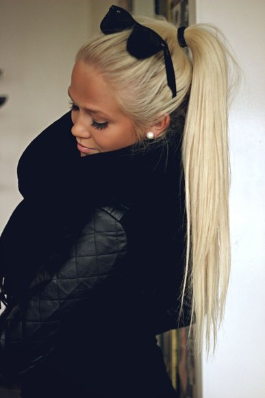 coat black coat quilted leather jacket black sunglasses blonde hair