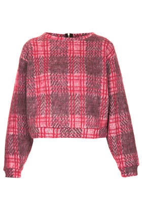 Premium Fluffy Check Sweat - New In This Week  - New In  - Topshop