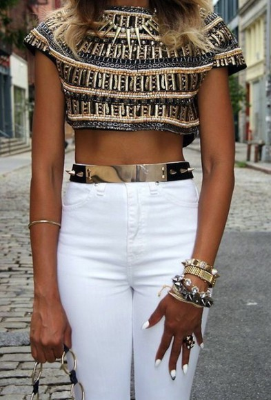 pattern top gold crop top jeans