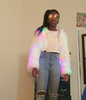 jacket,glow in the dark,fur jacket,multicolor,faux fur jacket,cropped jacket,glow jacket