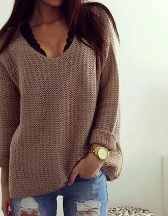 sweater tan brown tan sweater low cut long sleeve sweater low cut sweater free people bralette fashion winter outfits fall outfits long sleeves bralette