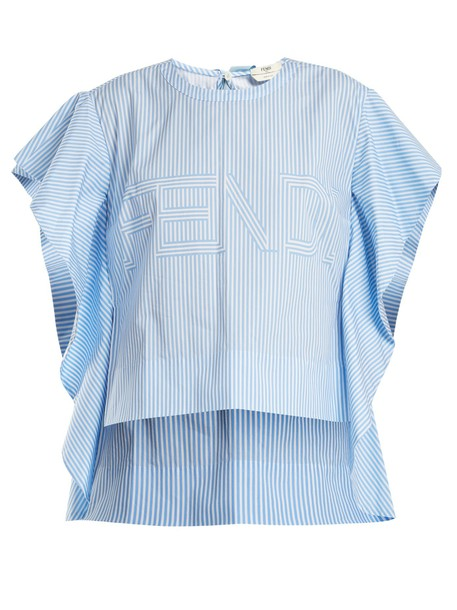 Fendi top cotton print light blue light blue