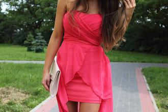 dress pink pink dress strapless strapless dresses strapless dress formal dress graduation dress prom dress short dress short prom dress party party dress tulip dress