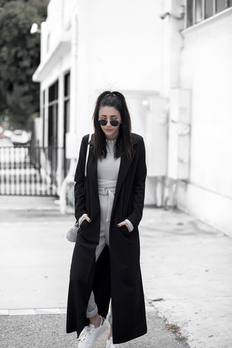 jumpsuit grey jumpsuit blogger fashionlush long coat light coat black coat minimalist fur keychain white sneakers streetstyle black sunglasses bag accessories aviator sunglasses fall outfits sneakers high waisted pants