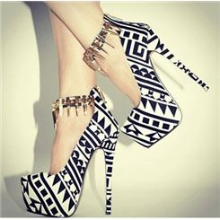 $ 61.39 fashionable black & white contrast colour coppy leather high heel shoes