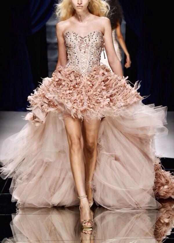 dress apricot prom dress gala dress high low prom dresses corsage evening dress