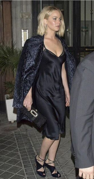 dress sandals camisole midi dress black dress little black dress jennifer lawrence all black everything coat shoes bag clutch