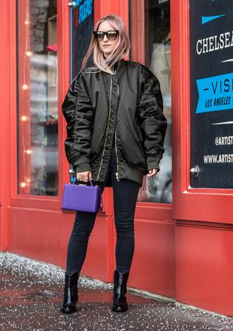jacket nyfw 2017 fashion week 2017 fashion week streetstyle oversized jacket oversized brown jacket denim jeans black jeans skinny jeans black skinny jeans bag purple boxed bag sunglasses boots black boots ankle boots
