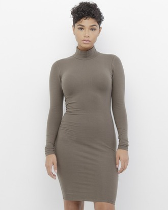 dress taupe taupe dress mock neck mock neck dress midi dress long sleeves long sleeve dress bodycon bodycon dress