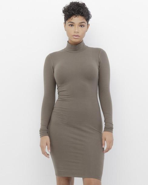 e89fac45337 dress taupe taupe dress mock neck mock neck dress midi dress long sleeves  long sleeve dress