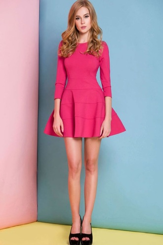dress hot pink long sleeves