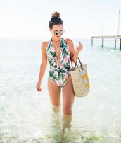 swimwear,tumblr,v neck,plunge v neck,floral,floral swimwear,one piece swimsuit,bag,beach bag,sunglasses