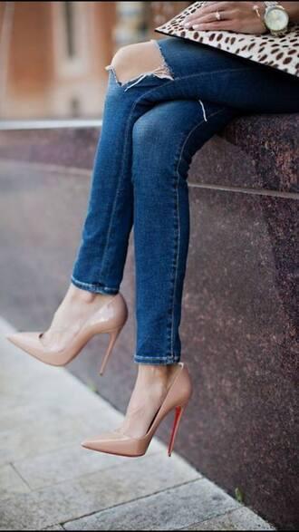 shoes high heels denim jeans beige shoes beige high heels watch high heel pumps pointed toe pumps