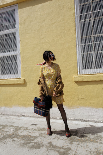 ordinarypeople blogger dress jewels bag shoes sunglasses yellow dress sandals jacket spring outfits summer outfits