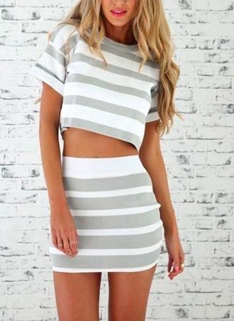 t-shirt stripes skirt mini skirt