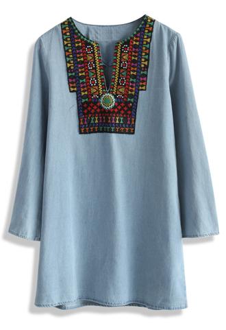dress joyful embroidery shift denim dress chicwish denim dress boho boho dress summer dress chicwish.com