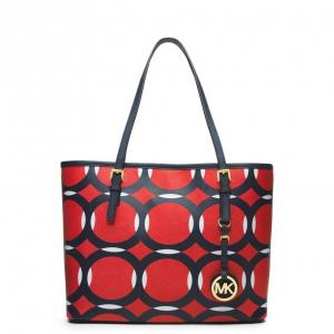 MICHAEL Michael Kors Mandarin Black White Small Jet Set Travel Tote - Saffiano Leather - Sale