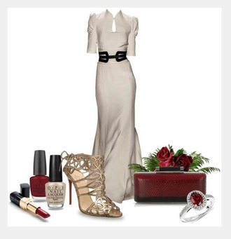 dress long dress gown shoes heels high heels bag clutch ring ruby ring taupe dress puffed shoulders belt clothes outfit half-sleeved