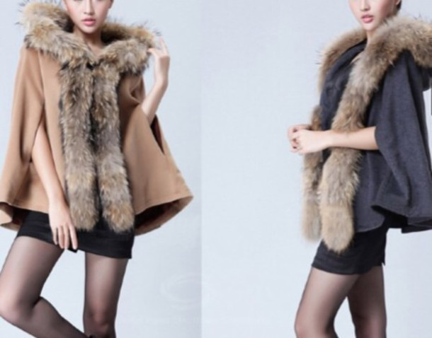 Jacket: camel, grey, fur coat, fashion, cape - Wheretoget
