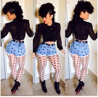 shorts keyshia kaoir shirt belt black polka dots tights blouse shoes underwear