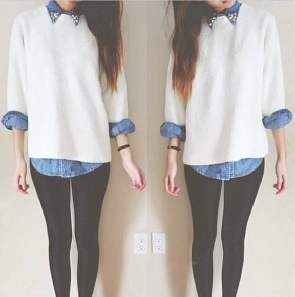 leggings legging sweater shirt girl tumblr white sweater spiked jacket spike denim girls jeans jacket