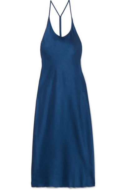 T by Alexander Wang dress midi dress midi blue satin