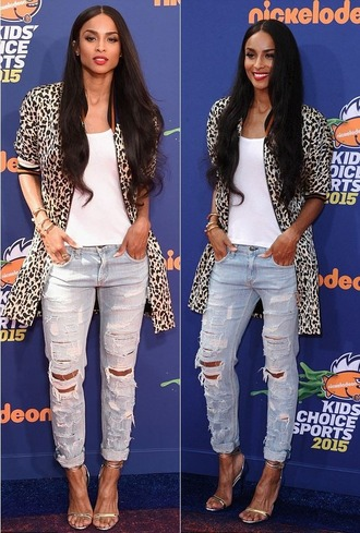 jeans jacket leopard print ciara top