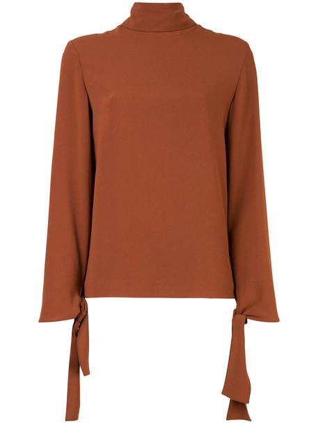 Joseph blouse women classic spandex turtle brown top