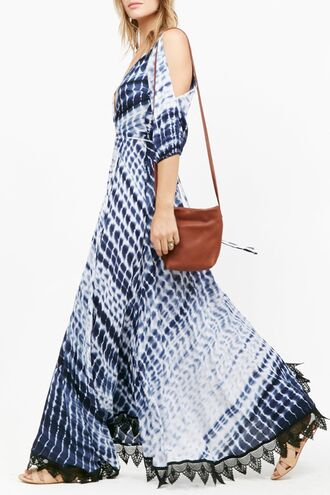 dress tie dye fashion trendy long dress blue white maxi dress off the shoulder boho gypsy zaful