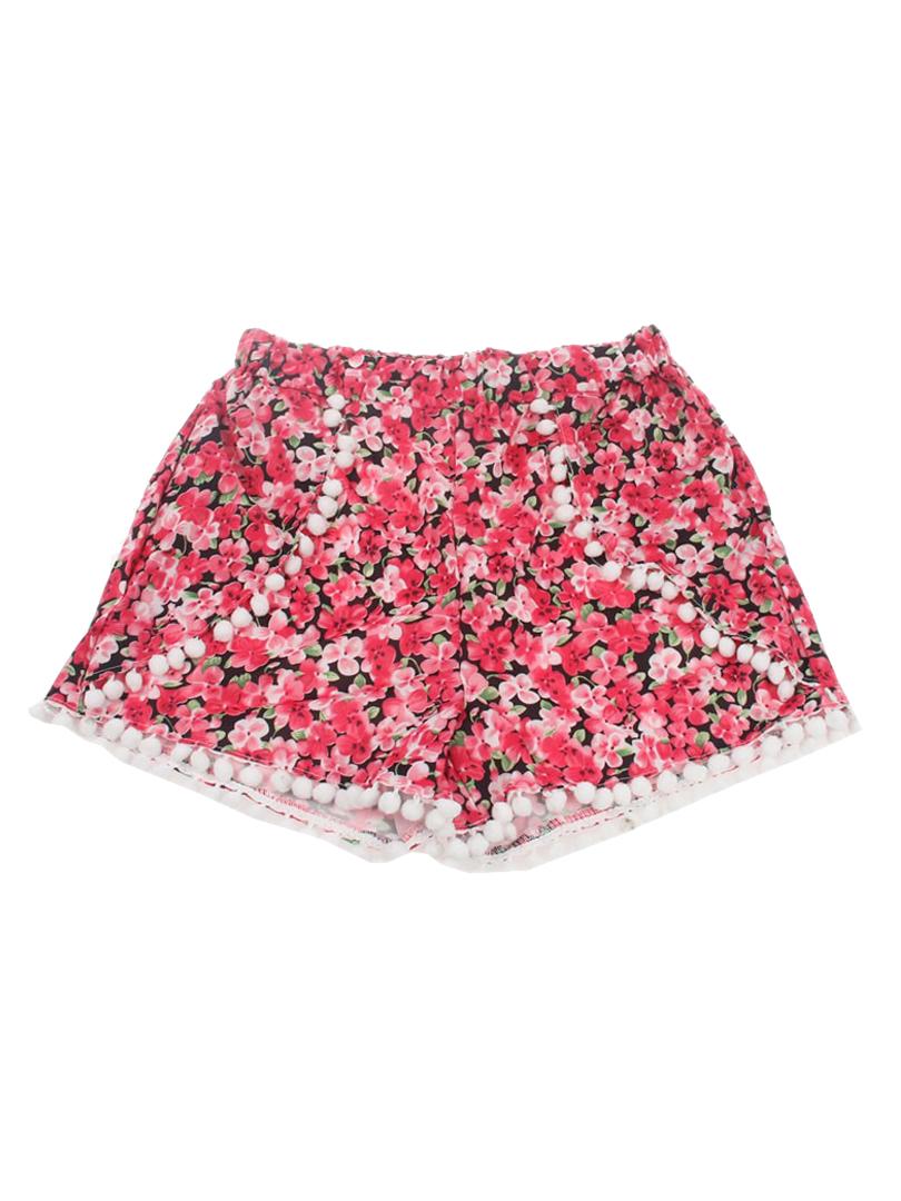 Floral Elastic Waist Pom Poms Shorts - Choies.com