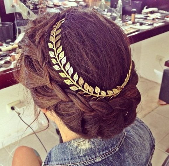 braid jewels gold leaves head hair greek braids