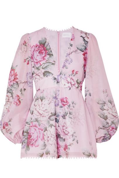 floral cotton print silk lilac romper