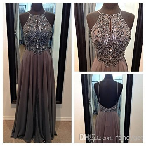 Buy top sexy hot selling gray halter backless beaded long prom dresses 2014 a