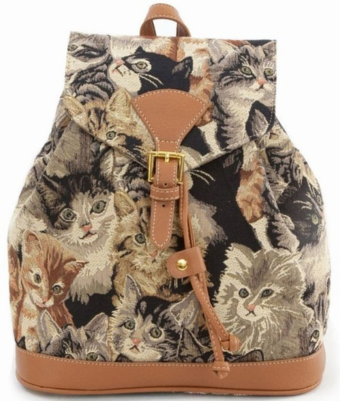 backpack black bag orange bag kitten print grey bag