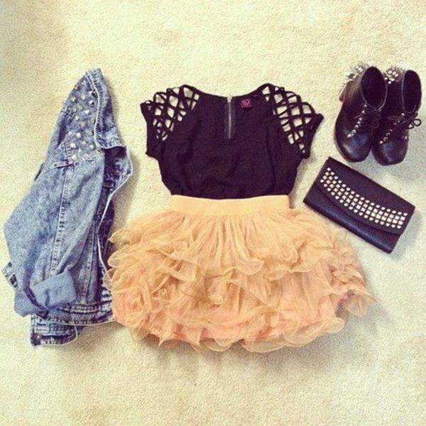 jacket clothes t-shirt skirt t-shirt frilly studded jacket top blouse shoes shirt black shirt denim jacket dress pink girly cute