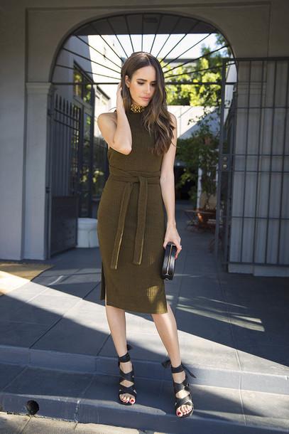 5a6f0996831 dress tumblr olive green green dress midi dress knitwear knitted dress  sandals sandal heels high heel
