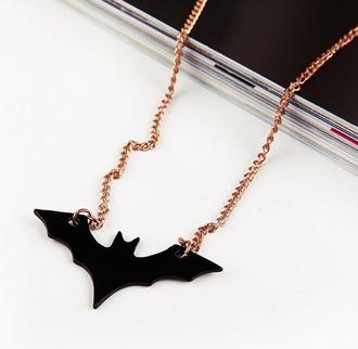 batman necklace kawaii chain black