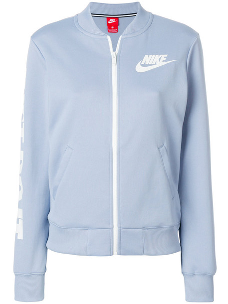 Nike - Just Do It bomber jacket - women - Cotton/Polyester - XS, Blue, Cotton/Polyester