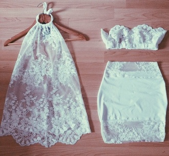 skirt top white bottoms two-piece lace top crop tops