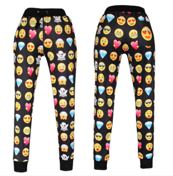 Unisex black emoji sweatpants joggers
