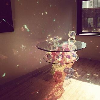 home accessory rainbow glass table amazing cubes bright light blue red green white pink