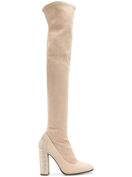 heel thigh boots women embellished leather nude suede shoes