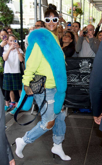 shoes boots rihanna fur sunglasses sweatshirt ripped jeans jeans