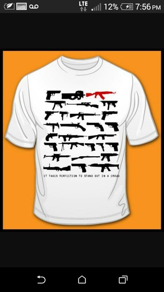 shirt white cool gun