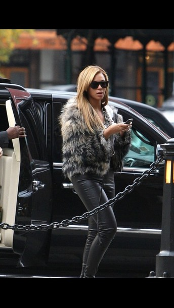 coat beyonce fur faux fur jacket fur coat shades leather black leather pants pants jacket beyonce