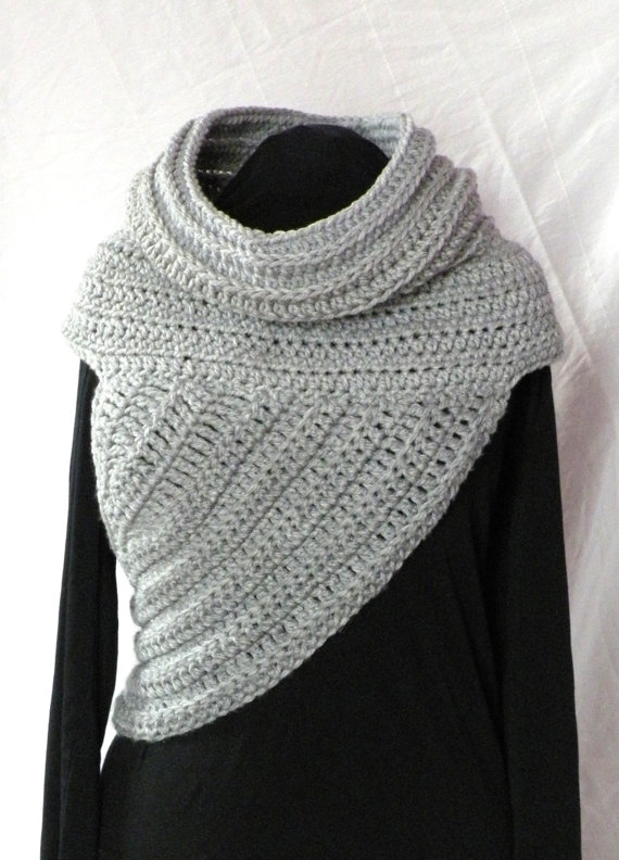 Crochet pattern huntress cowl shawl asymmetrical by jazodee
