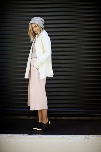 late afternoon blogger coat sweater shoes jewels hat
