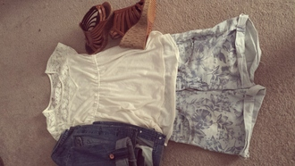 light blue jeans shorts strappy wedges lace top denim jacket shorts
