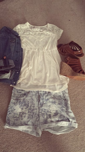 denim jacket light blue jeans shorts strappy wedges lace top
